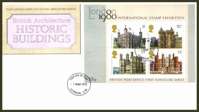 view larger back view image for Historic Buildings minisheet on an UNADDRESSED official Royal Mail  FDC cancelled with a strike of the 