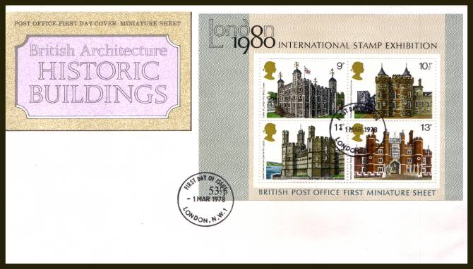 view larger back view image for Historic Buildings minisheet on an UNADDRESSED official Royal Mail  FDC cancelled with a strike of the LONDON N.W.1