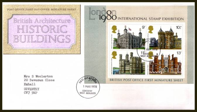 view larger back view image for Historic Buildings minisheet on a typed addressed  official Royal Mail  FDC cancelled with a strike of the COVENTRY - WEST MIDLANDS