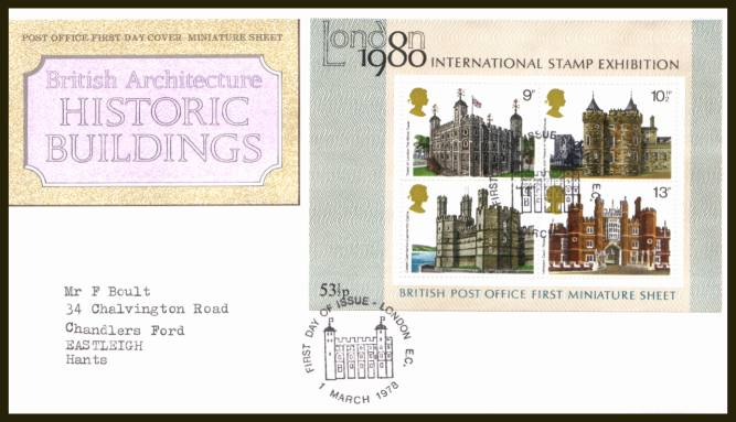 view larger back view image for Historic Buildings minisheet on a typed address official Royal Mail  FDC cancelled with the alternative  