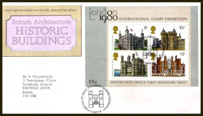 view larger back view image for Historic Buildings minisheet on a typed addressed official Royal Mail  FDC cancelled with two strikes of PHILATELIC BUREAU - EDINBURGH 