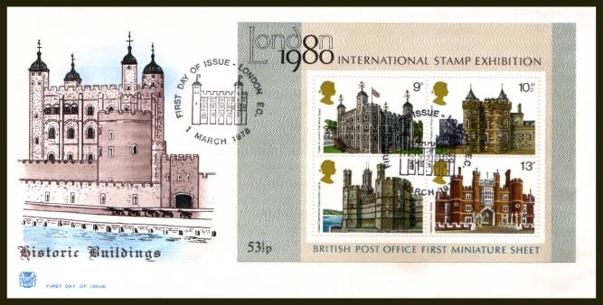view larger back view image for Historic Buildings minisheet on an UNADDRESSED Stuart  FDC cancelled with the alternative LONDON E.C. 