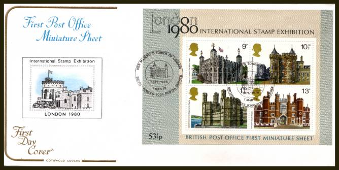 view larger back view image for Historic Buildings minisheet on an unaddressed Cotswold  FDC cancelled with a strike of the TOWER OF LONDON - BRITISH FORCES 9000 POSTAL SERVICE