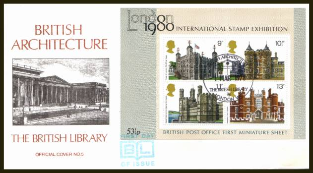 view larger back view image for Historic Buildings minisheet on an UNADDRESSED (label removed) BRITISH LIBRARY FDC - OFFICIAL cover number 5 cancelled with a strike of the BRITISH ARCHITECTURE - THE BRITISH LIBRARY - LONDON W1 