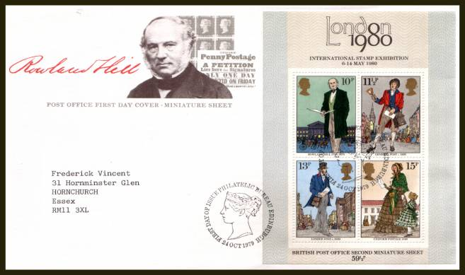 view larger back view image for Rowland Hill minisheet on a neatly typed addressed official Post Office FDC cancelled with a