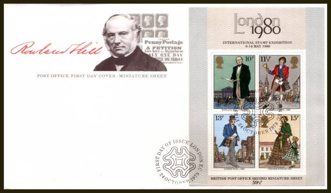 view larger back view image for Rowland Hill minisheet on an UNADDRESSED official Post Office FDC cancelled with a LONDON EC alternative