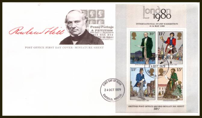 view larger back view image for Rowland Hill minisheet on an UNADDRESSED official Post Office FDC cancelled with a