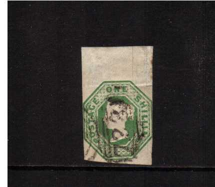 view larger image for SG 55 (1847) - Embossed - 1/- Green. A top marginal stamp design clear on two sides and sligtly cut into at right. An unusually lage stamp however. SG Cat �800