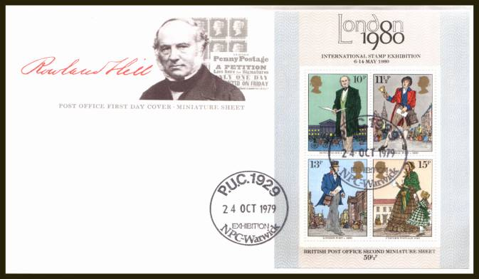 view larger back view image for Rowland Hill minisheet on an UNADDRESSED official Post Office FDC cancelled with P.U.C. 1929 EXHIBITION - NPC - WARWICK