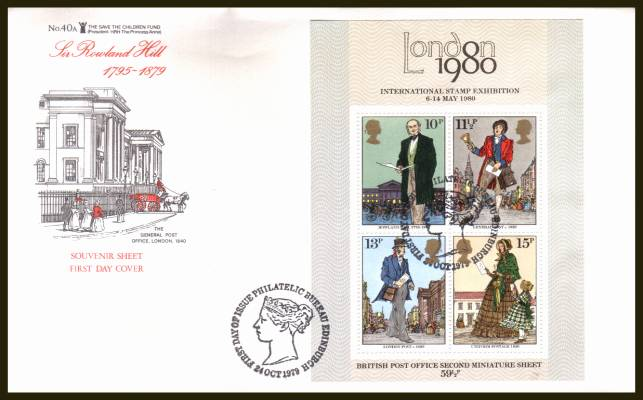 view larger back view image for Rowland Hill minisheet on an UNADDRESSED (label removed) SAVE THE CHILDREN FUND (No 40a) FDC cancelled with the PHILATELIC BUREAU - EDINBURGH handstamp