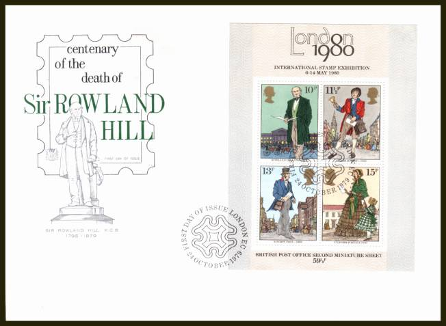 view larger back view image for Rowland Hill minisheet on an UNADDRESSED Stuart FDC cancelled with a LONDON EC