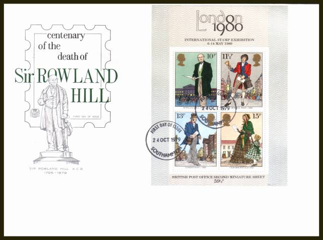 view larger back view image for Rowland Hill minisheet on an UNADDRESSED Stuart FDC cancelled with a SOUTHAMPTON FDI