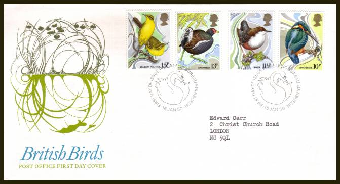 view larger back view image for British Birds set of four on official neatly typed addressed Royal Mail FDC cancelled a  PHILATELIC BUREAU - EDINBURGH handstamp