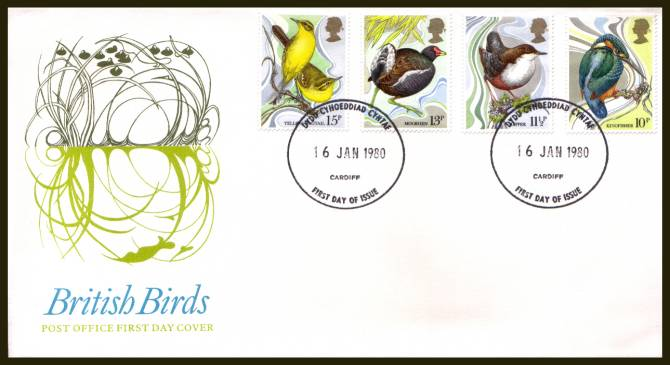 view larger back view image for British Birds set of four on official unaddressed Royal Mail FDC cancelled  the FDI cancel for DYDD CYHOEDDIAD CYNTAF - CARDIFF