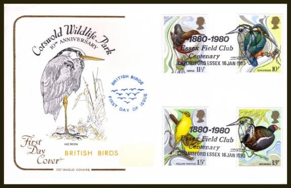 view larger back view image for British Birds set of four on an unaddressed (label removed) Cotswold FDC cancelled a ESSEX FIELD CLUB - CHELMSFORD - ESSEX 