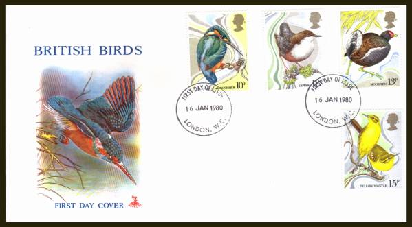 view larger back view image for British Birds set of four on an unaddressed Fleetwood FDC cancelled with two strikes of the LONDON W.C.
