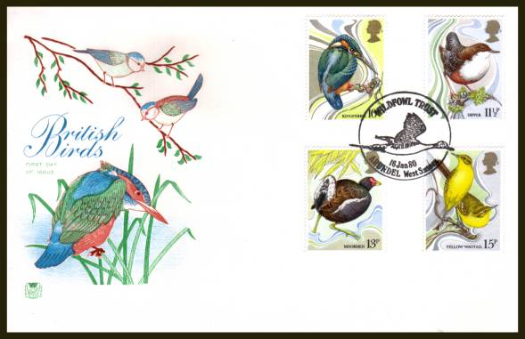 view larger back view image for British Birds set of four on an unaddressed Stuart FDC cancelled a WILDFOWL TRUST - ARUNDEL - WEST SUSSEX