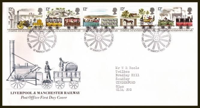 view larger back view image for 150th Anniversary of Liverpool and Manchester Railway strip of five on an official neatly typed addressed Royal Mail FDC cancelled with the PHILATELIC BUREAU - EDINBURGH handstamp dated 12 MARCH 1980