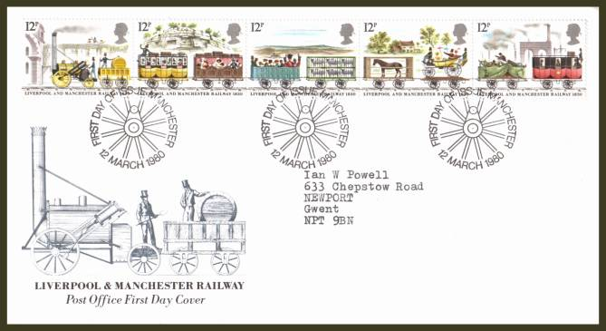 view larger back view image for 150th Anniversary of Liverpool and Manchester Railway strip of five on an official neatly typed addressed Royal Mail FDC cancelled with the MANCHESTER handstamp dated 12 MARCH 1980