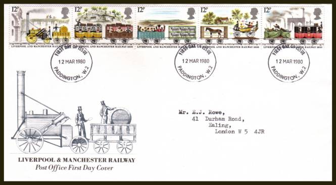 view larger back view image for 150th Anniversary of Liverpool and Manchester Railway strip of five on an official typed addressed Royal Mail FDC cancelled with the PADDINGTON W.2