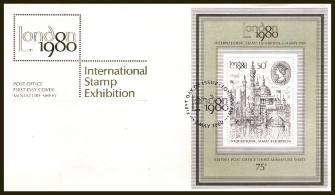 view larger back view image for ''London 1980'' minisheet on an UNADDRESSED (label removed) official Royal Mail FDC cancelled with a strike of the LONDON S.W. handstamp cancel dated 7 MAY 1980
