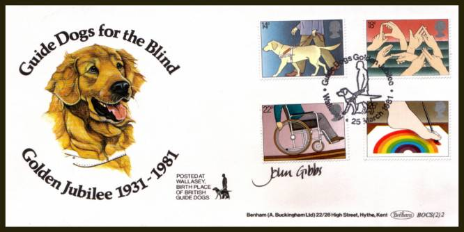 view larger back view image for International Year of the Disabled set of four on an unaddressed Benham FDC cancelled with a single strike GUIDE DOGS GOLDEN JUBILEE - WALLASEY dated 25 MARCH 1981. This FDC is autographed by the designer JOHN GIBBS backstamped No 167 of 250 signed by him