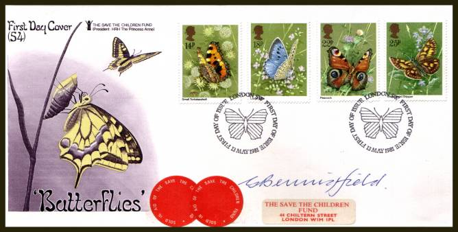 view larger back view image for Butterflies set of four on an unaddressed PHILART - SAVE THE CHILDREN FUND - No 54 FDC cancelled with a LONDON W.1 FDI cancel dated 13 MAY 1981 AUTOGRAPHED by the stamp designer G. BENNINGFIELD.