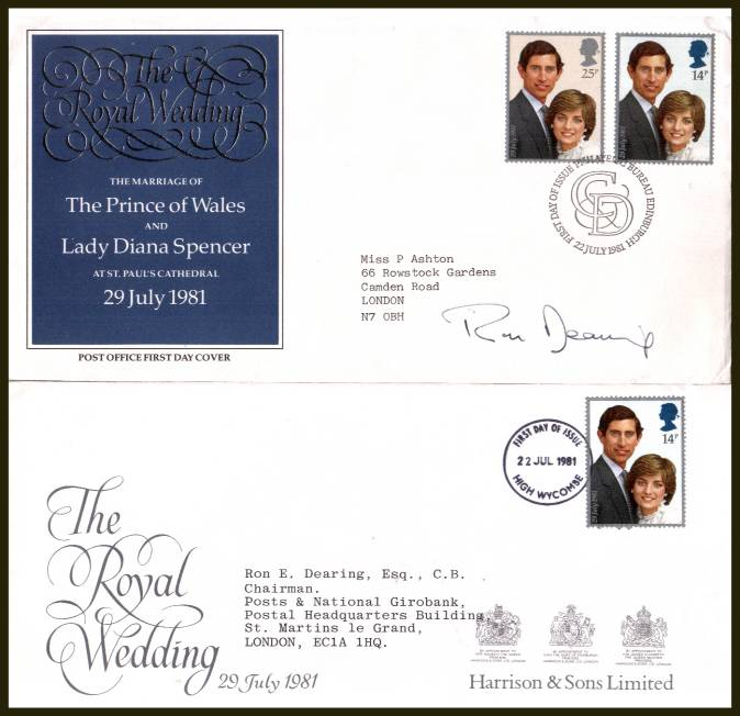 view larger back view image for Royal Wedding - Charles and Diana set of two on an addressed