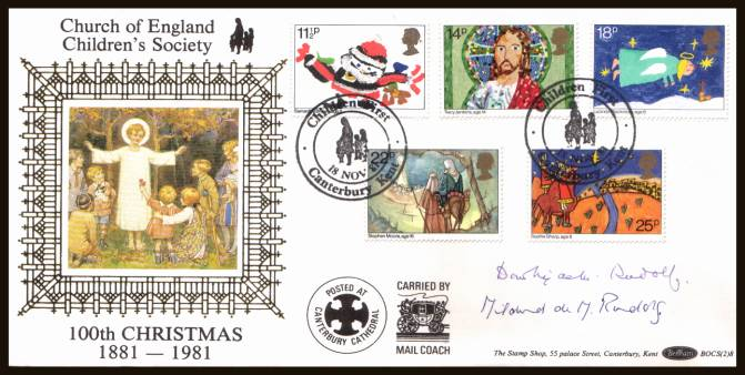 view larger back view image for Christmas set of five on an unaddressed  Benham FDC cancelled with two strikes of the CHILDREN FIRST - CANTERBURY - KENT dated 18 NOV 81. The cover has been autographed by MILDRED & DOROTHY RUDOLF daughter of founder of society.    BOCS(2)8