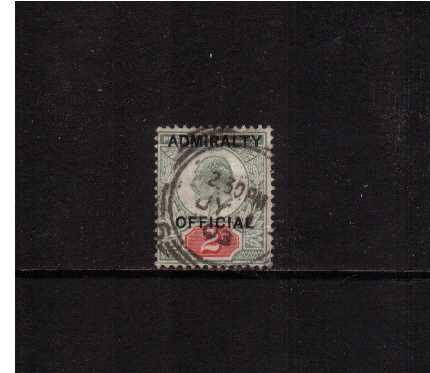 view larger image for SG O104 (1903) - <b>ADMIRALTY OFFICIAL</b><br/>2d Edward 7th overprinted 'ADMIRALTY OFFICIAL' cancelled with a light squared circle cancel dated JY 1 03 SG Cat £160
