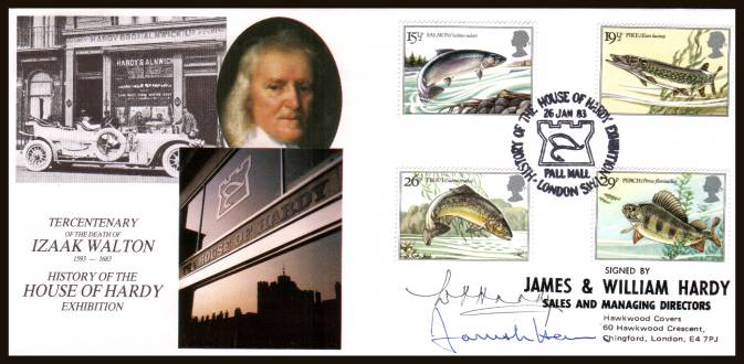 view larger back view image for British River Fishes set of four on an unaddressed OFFICIAL ''HOUSE OF HARDY'' autographed 