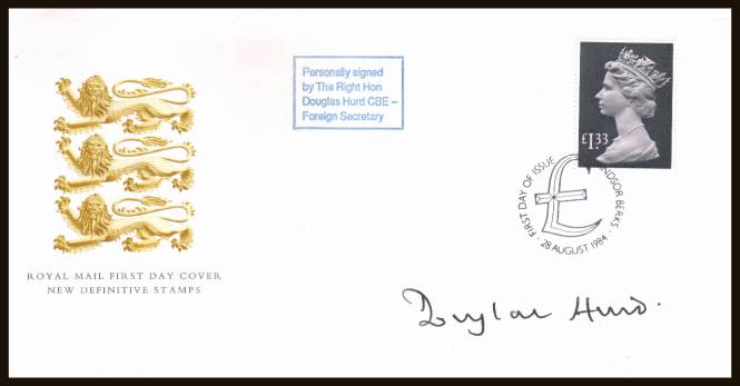 view larger back view image for �1.33 Pale Mauve and Grey-Black Machin High Value single on an unaddressed Royal Mail official FDC cancelled with a WINDSOR - BERKS handstamp dated 28 AUG 1984. Autographed by the then Foreign Secretary DOUGLAS HURD