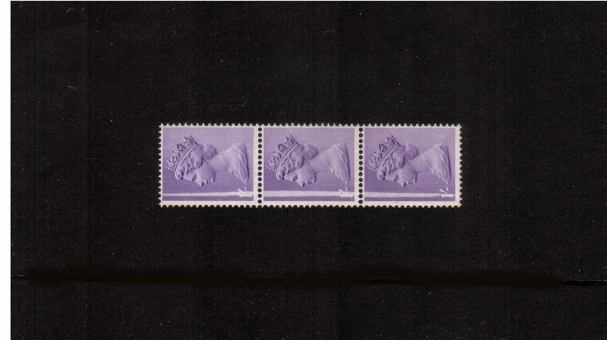 view larger image for SG 742Ev var (1968) - 1/- Pale Bluish Violet - PVA Gum<br/>An unmounted vertical strip of three with a vertical <b>BLADE FLAW</b> running through all three stamps.<br/><b>QRQ</b>