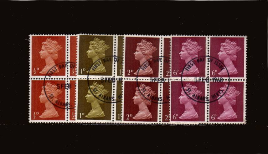 view larger image for SG 723-736 (1967) - A group of four superb fine used blocks of four all cancelled with a central FIRST DAY OF ISSUE cancel dated 5 FEB 1968.