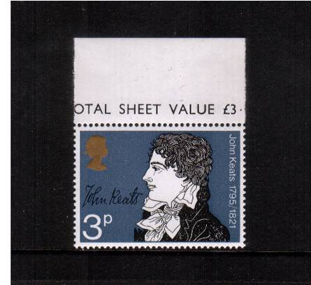 view larger image for SG 883Ey (1971) - 3p Literary Anniversaries - John Keats<br/>