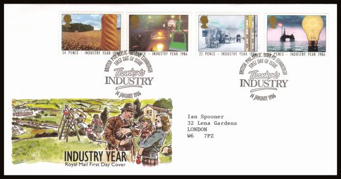 view larger back view image for Industry Year set of four on a neatly typed addrssed official Royal Mail FDC cancelled with an PHILATELIC BUREAU - EDINBURGH 