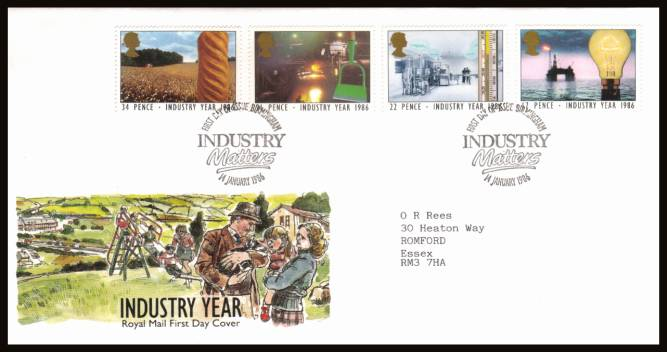 view larger back view image for Industry Year set of four on a neatly typed addrssed official Royal Mail FDC cancelled with the alternative 