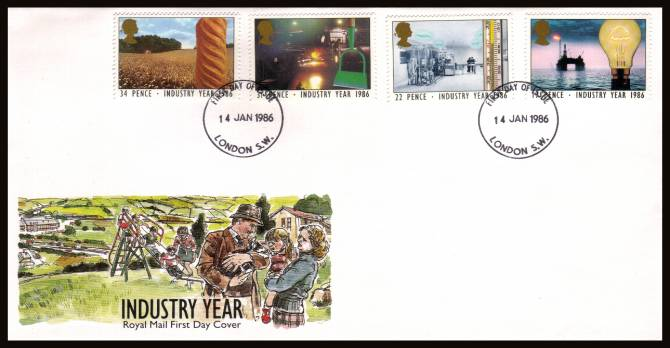 view larger back view image for Industry Year set of four on an unaddressed official Royal Mail FDC cancelled with a