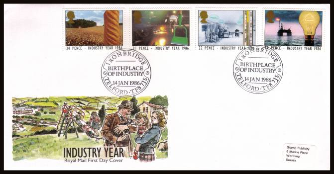 view larger back view image for Industry Year set of four on an unaddressed (tiny label) official Royal Mail FDC cancelled with an BIRTH PLACE OF INDUSTRY - IRONBRIDGE - TELFORD - TF8 7JS special handstamp 