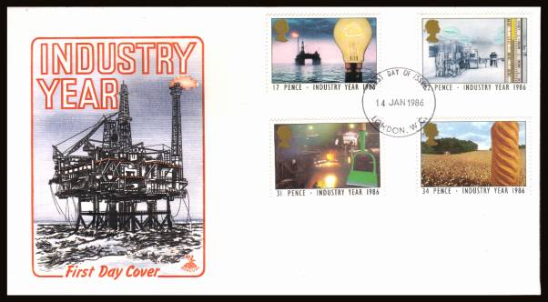 view larger back view image for Industry Year set of four on an unaddressed Mercury FDC cancelled with a
