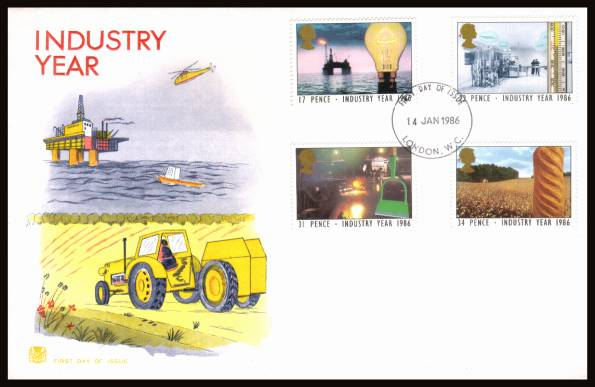 view larger back view image for Industry Year set of four on an unaddressed Stuart FDC cancelled with aLONDON W.C.