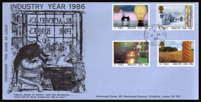 view larger back view image for Industry Year set of four on a Hawkswood  FDC cancelled with a