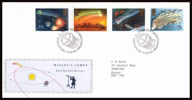 view larger back view image for Halley's Comet set of four on a neatly typed addressed official Royal Mail FDC cancelled with a