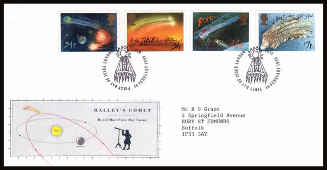 view larger back view image for Halley's Comet set of four on a neatly typed addressed official Royal Mail FDC cancelled with the alternative 