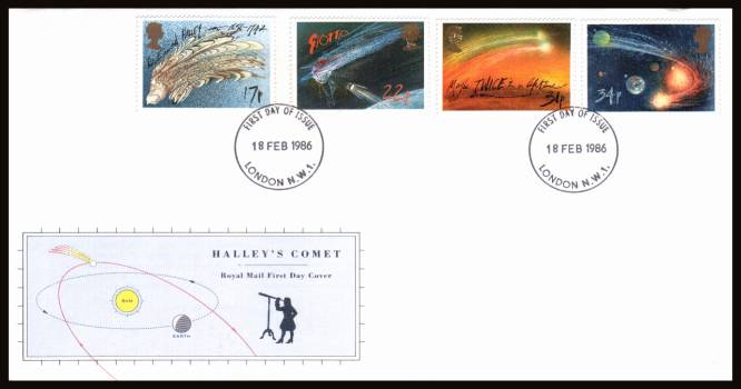 view larger back view image for Halley's Comet set of four on an unaddressed official Royal Mail FDC cancelled with a