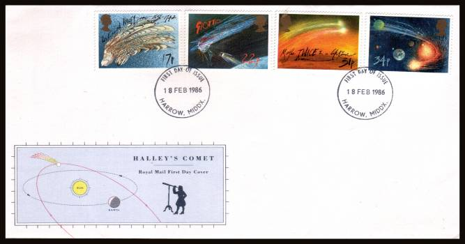 view larger back view image for Halley's Comet set of four on an unaddressed official Royal Mail FDC cancelled with a HARROW - MIDDX 
