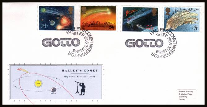 view larger back view image for Halley's Comet set of four on an unaddressed (tiny label) official Royal Mail FDC cancelled with two strikes of a