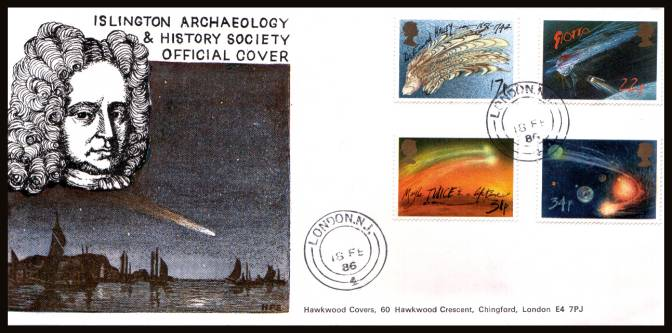 view larger back view image for Halley's Comet set of four on an unaddressed Hawkwood  - ISLINGTON ARCHAEOLOGY SOCIETY FDC cancelled with a two strikes of a LONDON N.1 double ring steel CDS