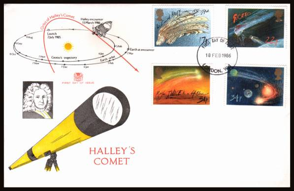 view larger back view image for Halley's Comet set of four on an unaddressed Stuary FDC cancelled with a LONDON W1