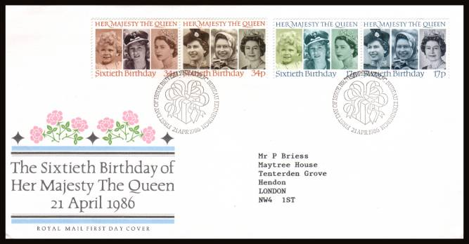 view larger back view image for 60th Birthday of The Queen set of four on a neatly typed addressed Royal Mail FDC cancelled with a 